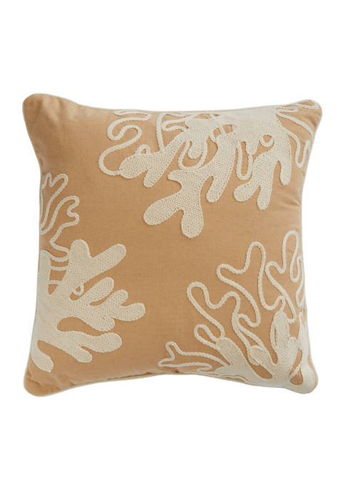 Beige Pillow with Coral Embroidery