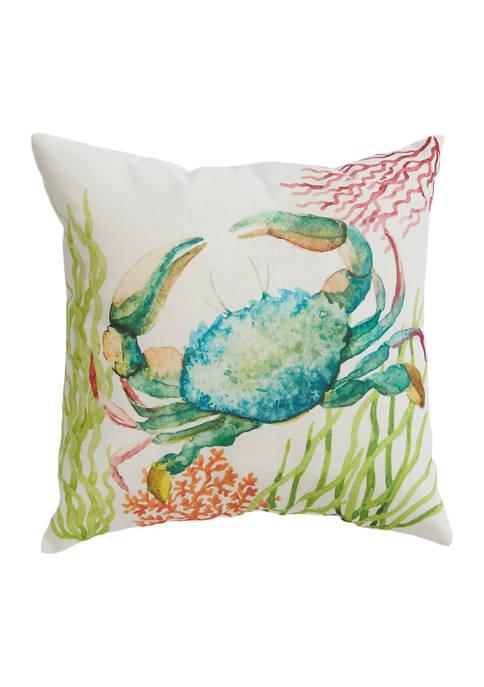 Watercolor Crab Throw Pillow