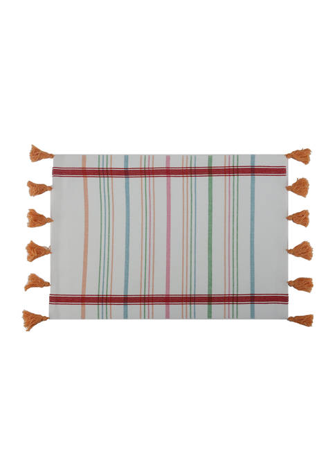 Multi Stripe Tassel Placemat