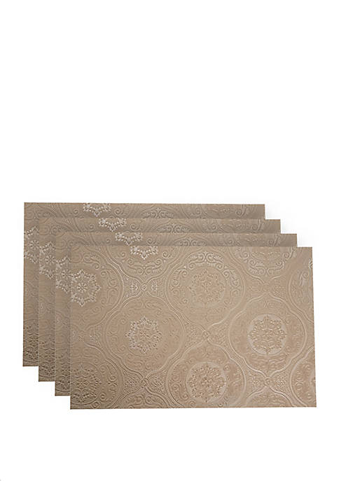 Hyde Park Faux Leather with Suede Backing Placemats- Set of 4