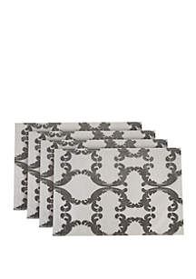 Dainty Home Scroll Printed Linen-Blend Fabric Placemats- Set of 4