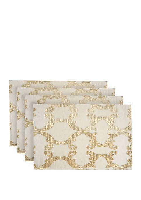 Dainty Home Scroll Printed Linen-Blend Fabric Placemats- Set