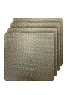 Dainty Home Cambria Metallic Textured Faux Leather Square Set of 4 Placemats