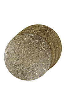 Dainty Home Lacey Metallic Round Set of 4 Placemats