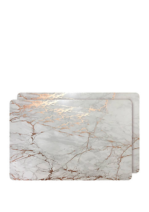 Dainty Home Marble Cork Foil Design Rectangle Set