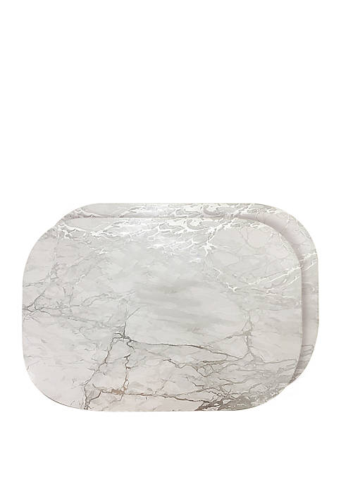 Dainty Home Marble Cork Foil Design Oval Set
