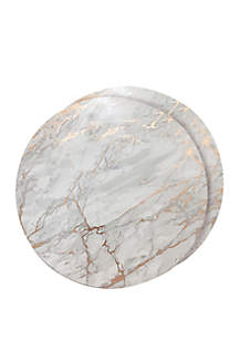 Dainty Home Marble Cork Foil Design Round Set of 2 Placemats