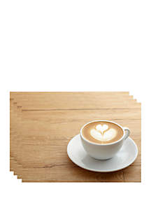 Dainty Home Cappuccino Printed Foam Placemats- Set of 4