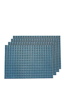 Dainty Home Checkers Basket Weave Textilene Reversible Set of 4 Placemats