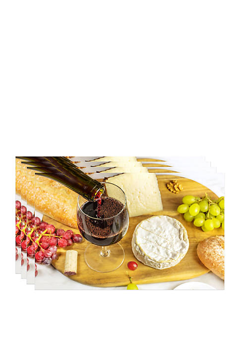 Dainty Home Set of 4 Cheese and Wine