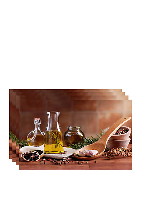 Dainty Home Olive Oil Printed Foam Placemats- Set
