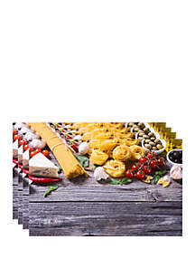 Dainty Home Pasta Printed Foam Set of 4 Placemats