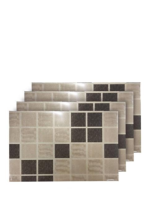 Shimmer Blocks Reversible Metallic Printed Set of 4 Placemats