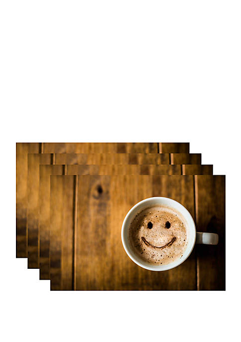 Set of 4 Smiley Coffee Printed Foam Placemats
