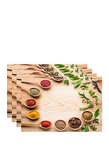 Dainty Home Set of 4 Spices on Wood Printed Foam Placemats