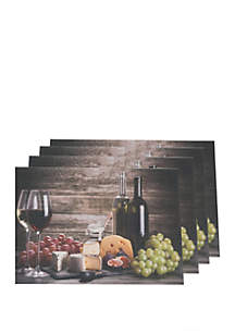 Dainty Home Wine and Grapes Print Textilene Set of 4 Placemats