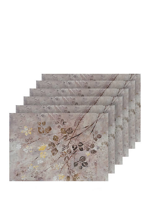 Garden Print Design Textilene Set of 6 Placemats