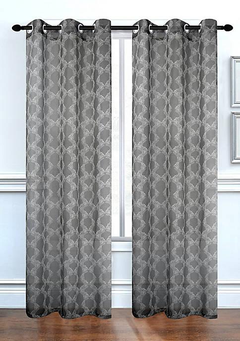 Dainty Home Lace Delight Semi-Sheer Grommet Window Curtain