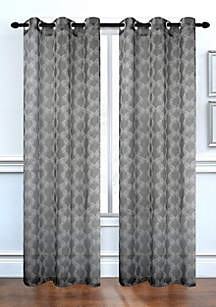 Lace Delight Semi-Sheer Grommet Window Curtain Panel Pair