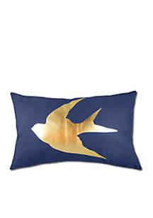Gold Foil Swallow Decorative Pillow