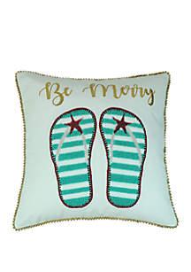 Be Merry Coastal Throw Pillow