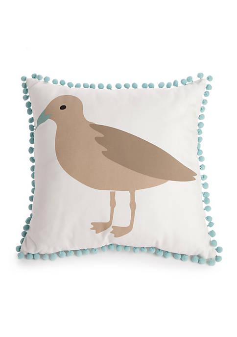 Beach Seagull Throw Pillow
