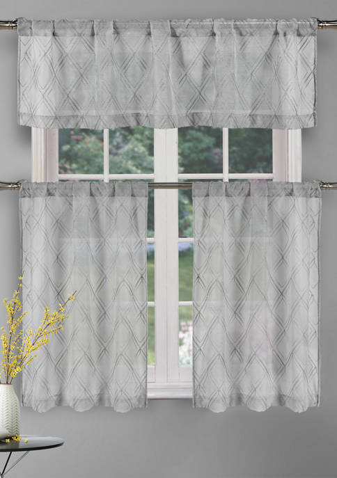 3-Piece Adley Solid Kitchen Curtain and Tier Set