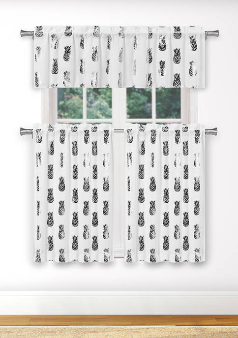 Kensie 3 Piece Alohi Solid Kitchen Curtain and