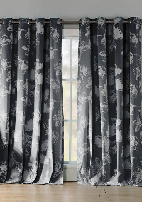 Kensie Set of 2 Aster Floral Cotton Window