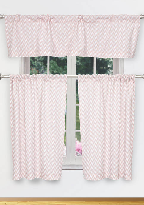Kensie Caspian Stripe Cotton Kitchen Curtain & Tier