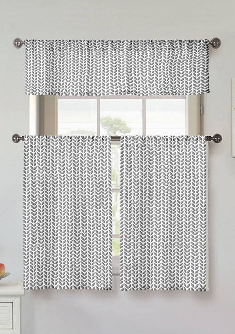 3 Piece Filip Floral Cotton Kitchen Curtain and Tier Set