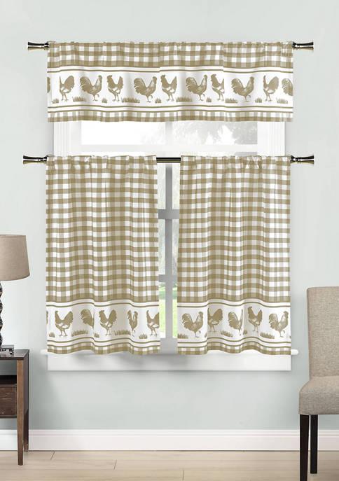 Hellen Checker Kitchen Curtain and Tier Set