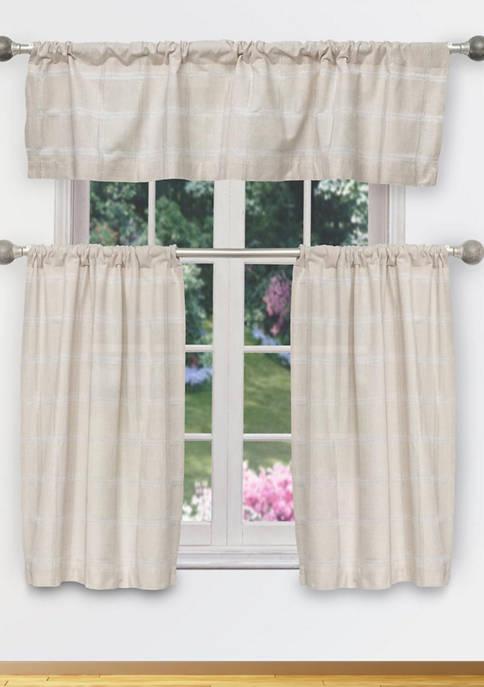 4 Inch Check Izabella Metallic Cotton Kitchen Curtain Set