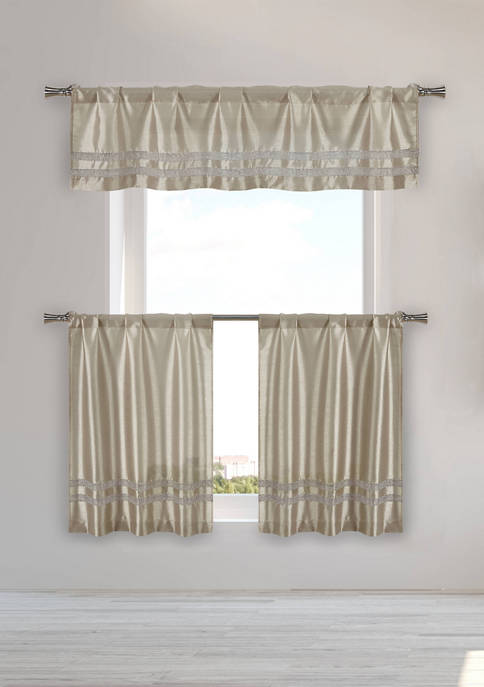 Kensie 3 Piece Kaia Solid Kitchen Curtain Set