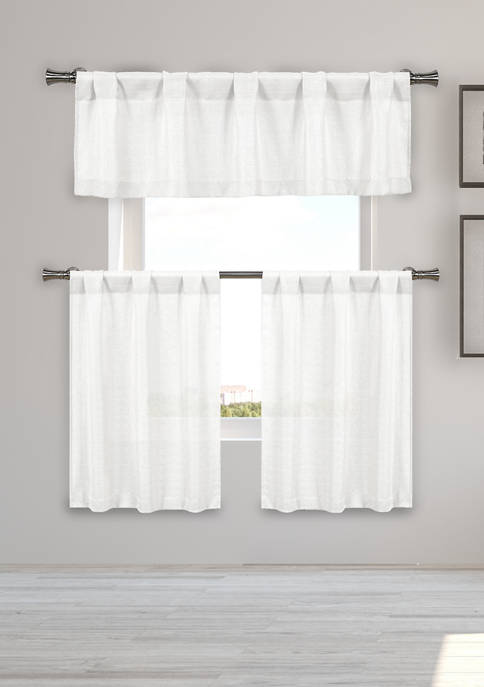 Home Maison Kealy Solid Kitchen Curtain and Tier