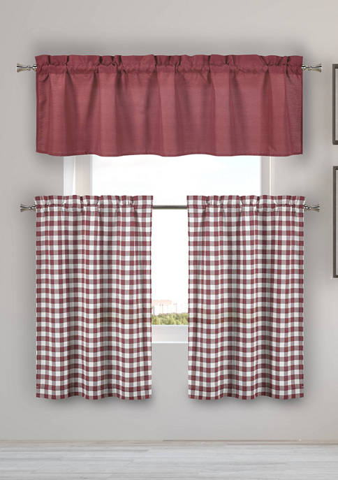 Home Maison Kinglough Checker Kitchen Curtain and Tier