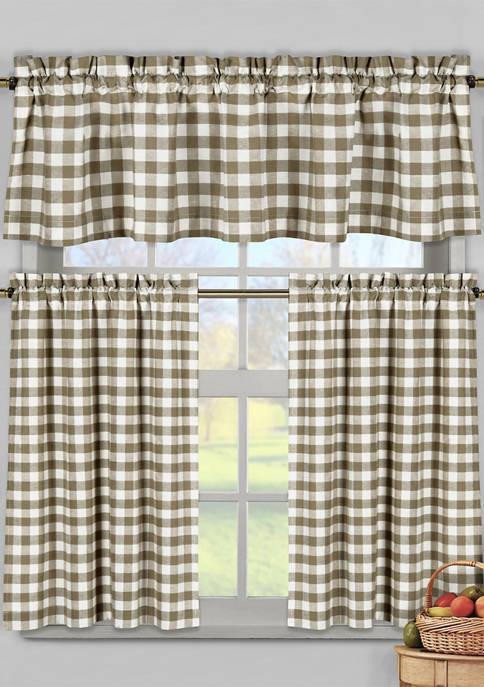 Kingston Checker Cotton Kitchen Curtain and Tier Set