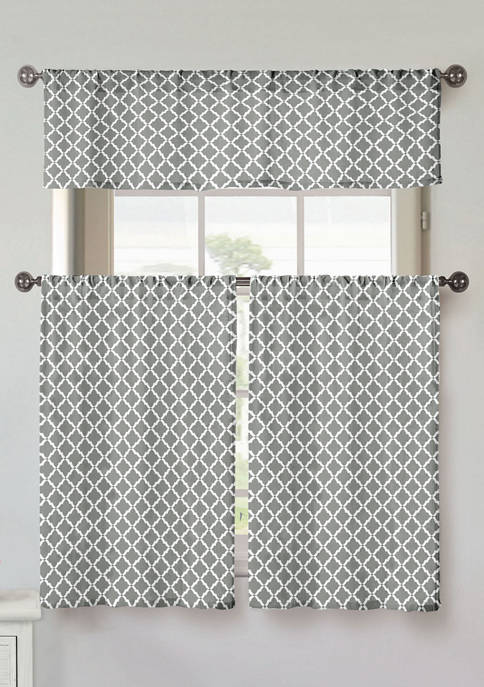 Home Maison Moana Geometric Cotton Kitchen Curtain &