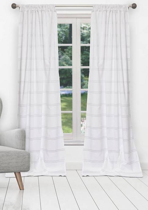 Namia Striped with Metallic Stripes Cotton Window Curtain Set