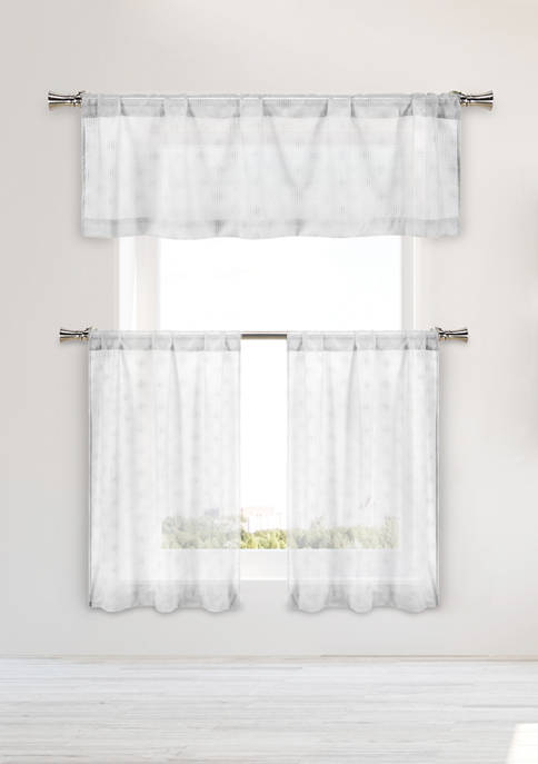 Kensie Regis Solid Kitchen Curtain & Tier Set