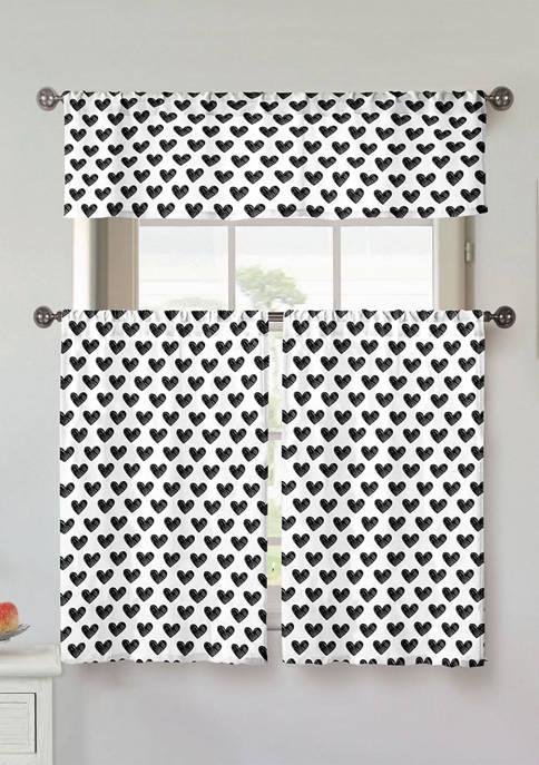 Kensie Roza Print Cotton Kitchen Curtain & Tier