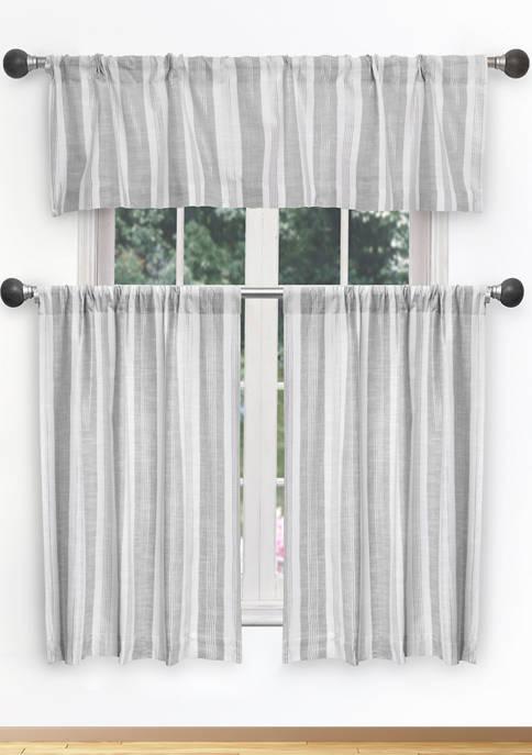 Rhett Stripe Cotton Kitchen Curtain & Tier Set