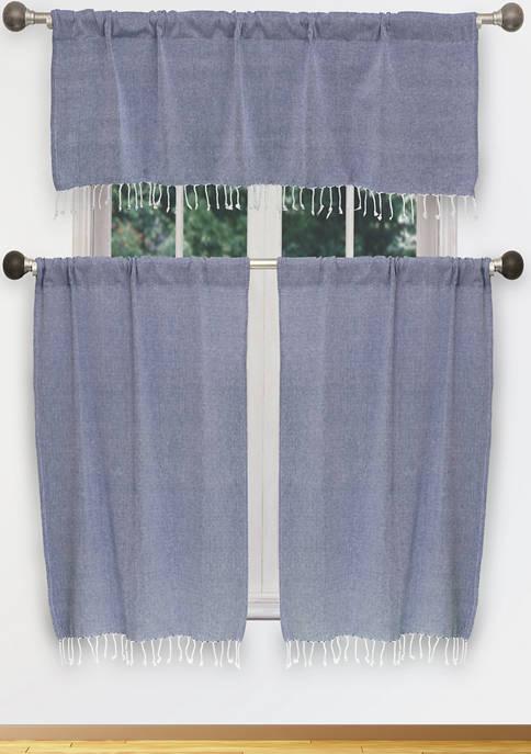 Savi Solid Cotton Kitchen Curtain & Tier Set
