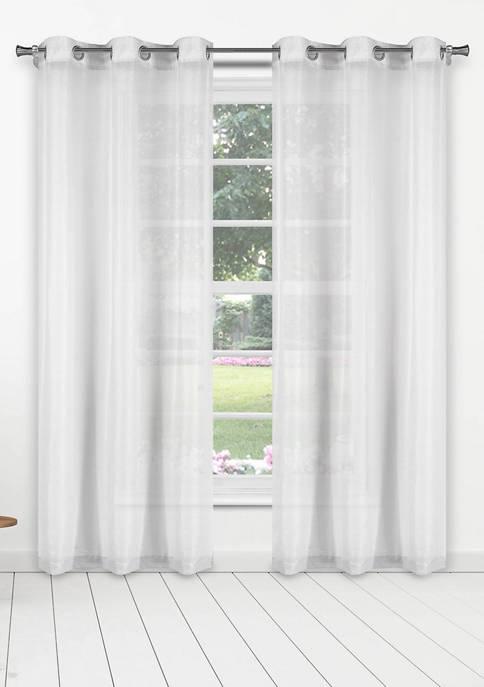 Kensie Senestia Thin Metallic Stripes Window Curtain Set