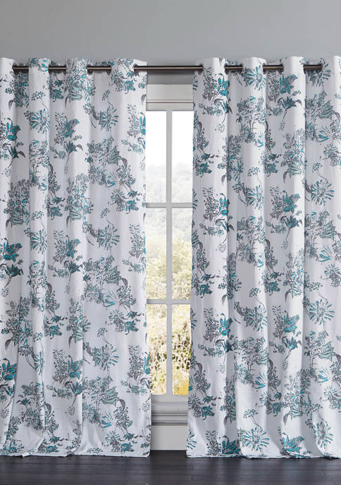 Kensie Set of 2 Alice Floral Cotton Window