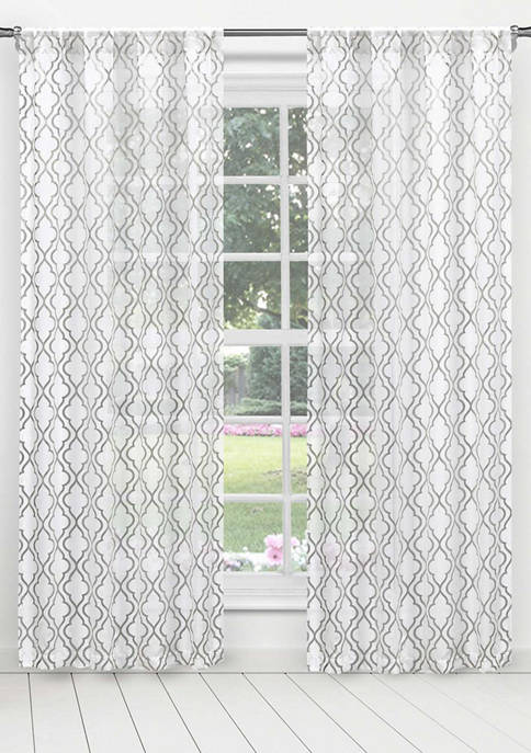 Cecily Metallic Trellis Window Curtain Set