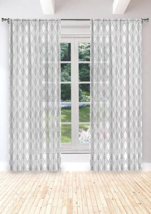 Greer Overlapping Diamond Embroidered Window Curtain Set