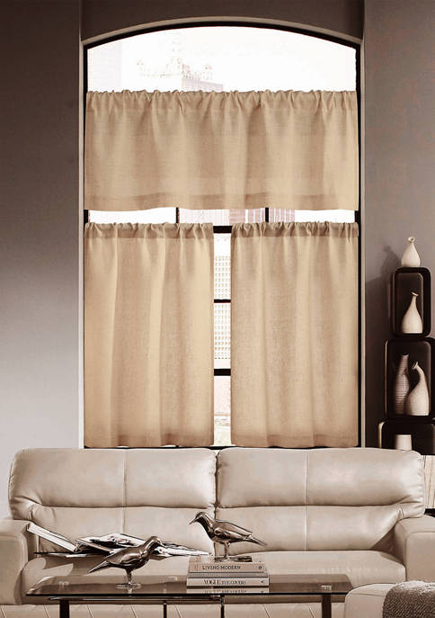Home Maison Keighley Solid Textured Kitchen Curtain Set