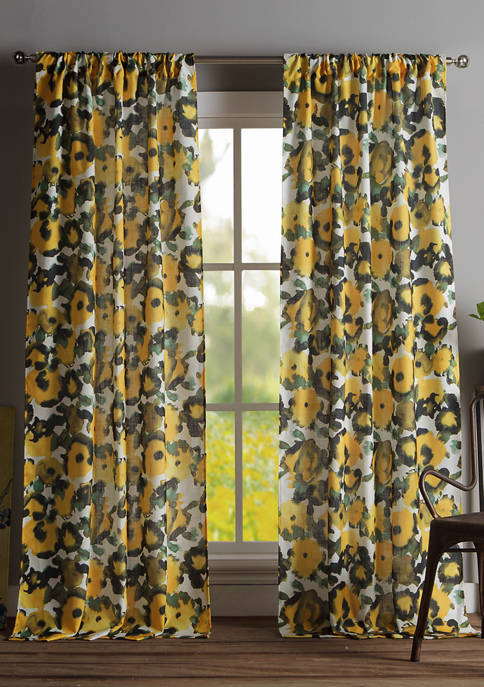 Kensie Set of 2 Keila Floral Window Curtains
