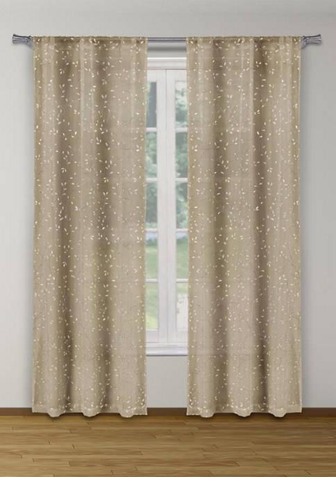 Maddie Metallic Puff Print Leaves Window Curtain Set